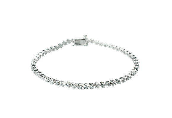 Sterling Silver Diamond Simulant Tennis Bracelet