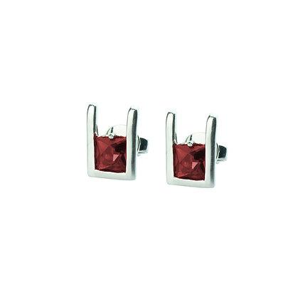Sterling Silver Square Garnet Earrings