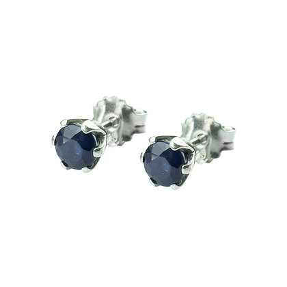 Sterling Silver Round Blue Sapphire Earrings- 5 MM