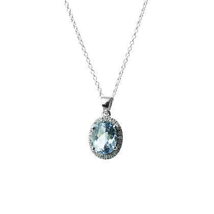 Sterling Silver Aquamarine Pendant with Natural White Zircon Halo