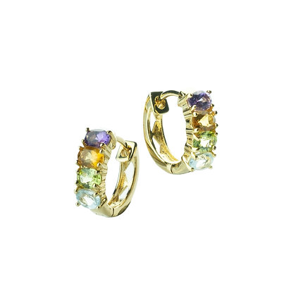 Sterling Silver Multicolored Gemstones Earrings - 18K Gold Plated