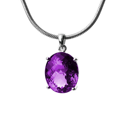 Sterling Silver Large African Amethyst Pendant 26.55 carats