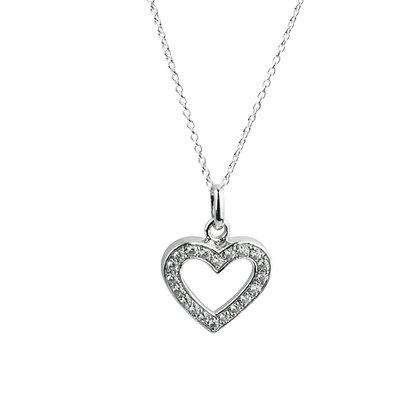 Sterling Silver Diamond Simulant Heart Pendant