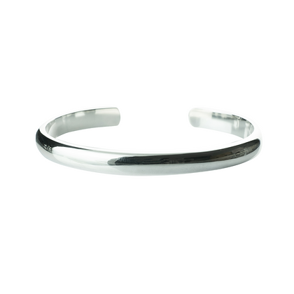 Sterling Silver Cuff Bangle - Unisex 6 mm
