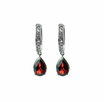 Sterling Silver Garnet and White Topaz Dangle Earrings