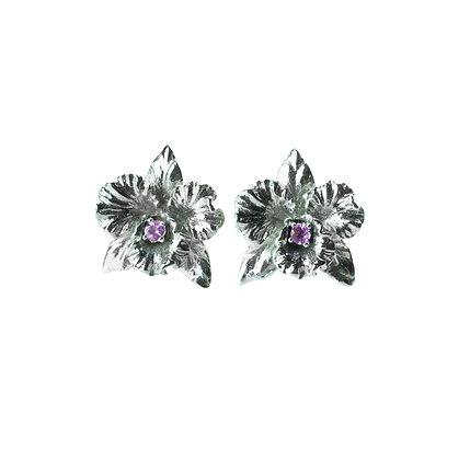 Sterling Silver Amethyst Orchid Flower Earrings