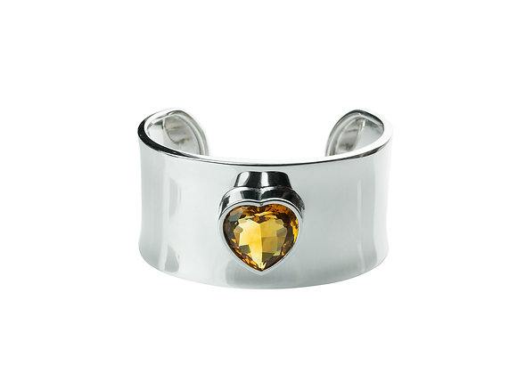 Sterling Silver Heart Citrine Bangle