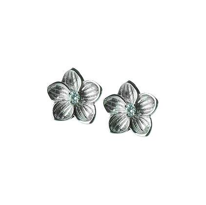 Sterling Silver Aquamarine Flower Earrings