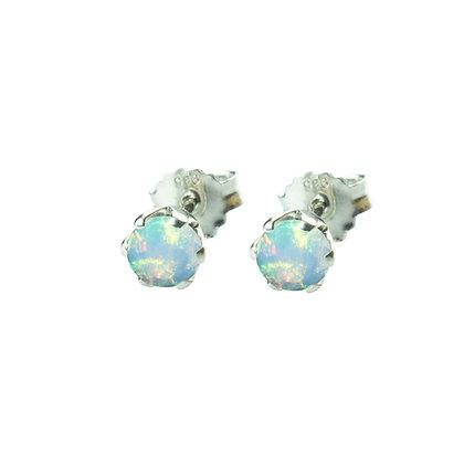 Sterling Silver Round Opal Earrings- 5 MM