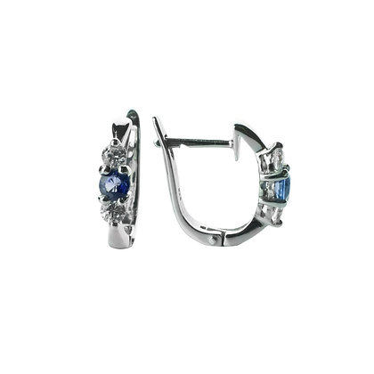 Sterling Silver Blue Sapphire Hoop Earrings