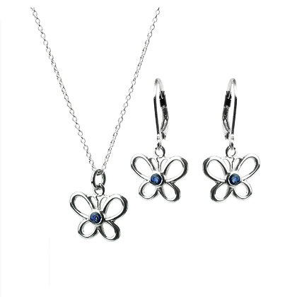 Sterling Silver Blue Sapphire Earrings and Pendant