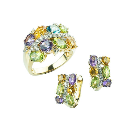 Sterling Silver Multicolored Ring and Earrings in 18K Gold Plating