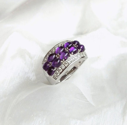 Cabochon Cut Amethyst with Natural White Zircon Ring