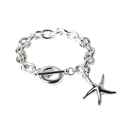 Sterling Silver Oval Bracelet with Starfish