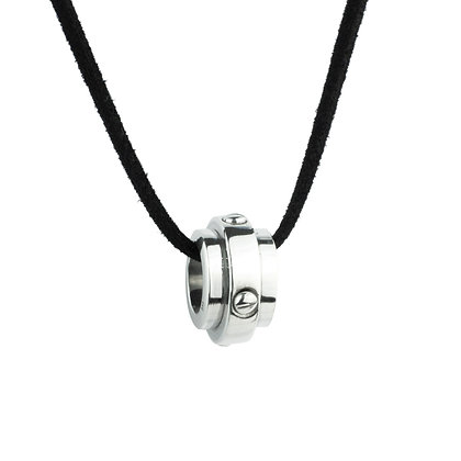Sterling Silver Spinning Pendant with Black Cord