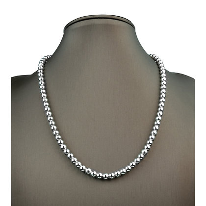 Sterling Silver Bead Necklace - 6 mm