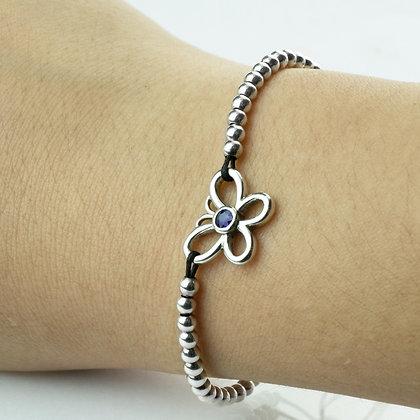 Sterling Silver Blue Sapphire Adjustable Bracelet