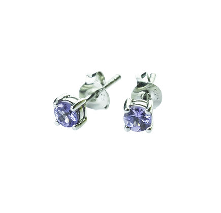 Sterling Silver Round Tanzanite Earrings- 4 MM