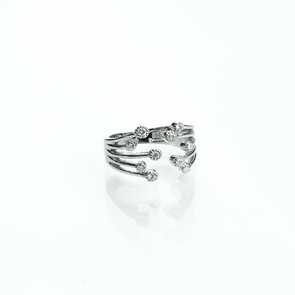 Sterling Silver Ring with Diamond Simulants