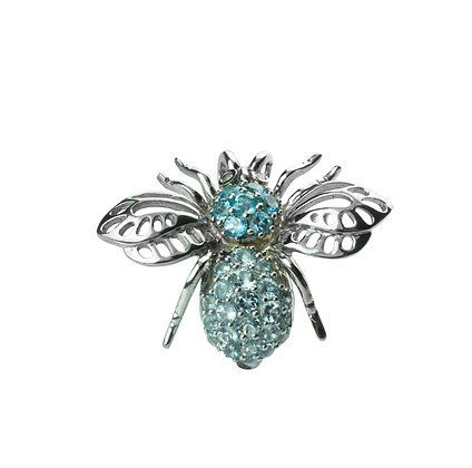 Sterling Silver Bee Pendant & Brooch with Blue Topaz