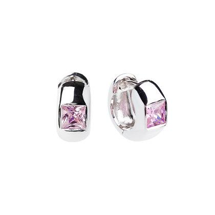Sterling Silver Pink Cubic Zirconia Huggie Earrings