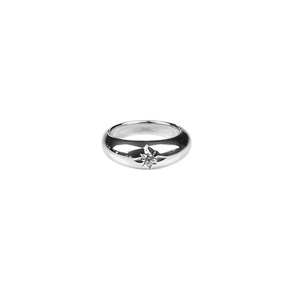 Sterling Silver Ring with Diamond Simulant