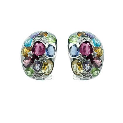 Sterling Silver Multicolored Gemstones Earrings