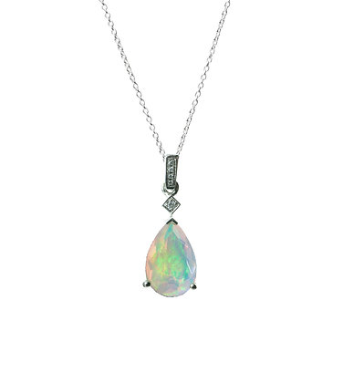 Sterling Silver Opal Pendant with Natural White Zircon