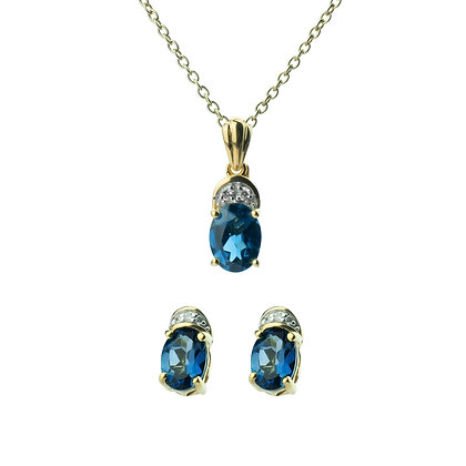 Sterling Silver London Blue Topaz with Diamond Earrings and Pendant