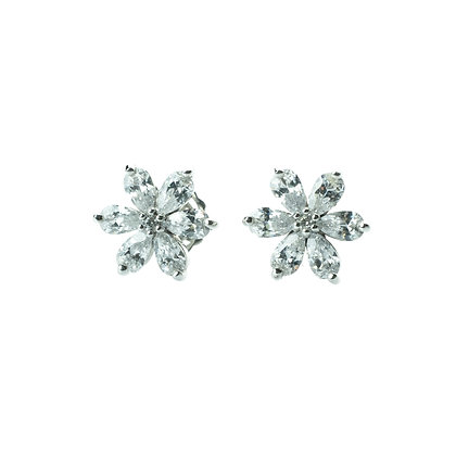 Sterling Silver Flower Earrings with Diamond Simulant CZ
