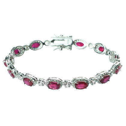 Sterling Silver Ruby with White Topaz Halo Bracelet
