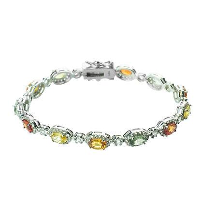 Sterling Silver Multi-Sapphire with White Topaz Halo Bracelet