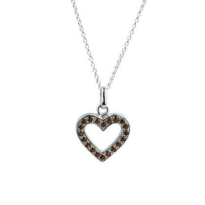 Sterling Silver Garnet Heart Pendant