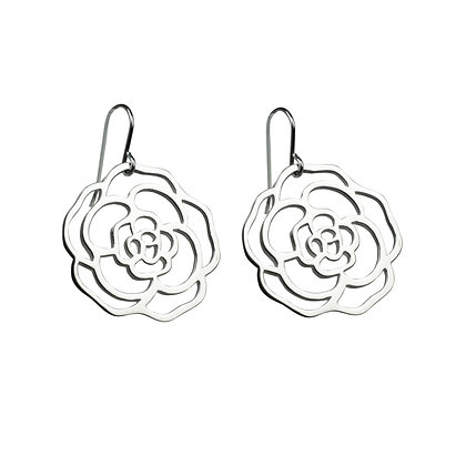 Sterling Silver Rose Earrings - Large