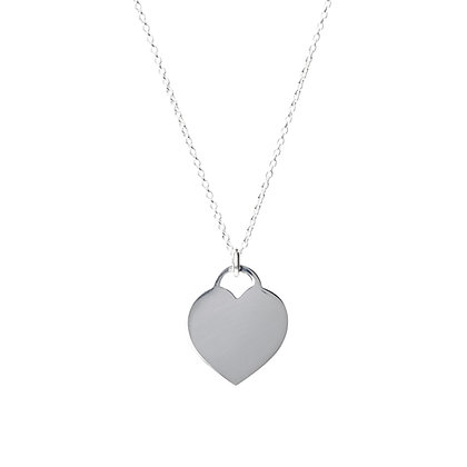 Sterling Silver Flat Heart Pendant - Small