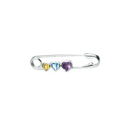 Sterling Silver Multicolored Gemstones Brooch