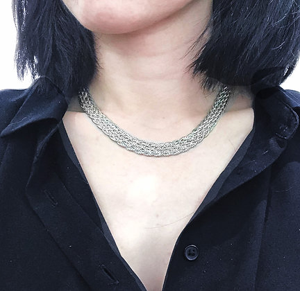 Sterling Silver Braided Necklace (8 Strands)