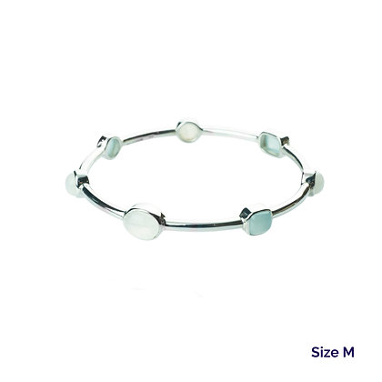 Sterling Silver Milky Aquamarine and Rainbow Moonstone Bangle