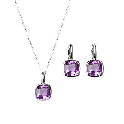 Sterling Silver Amethyst Earrings and Pendant/Enhancer