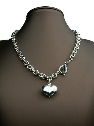 Sterling Silver Round Link Necklace with Puff Heart