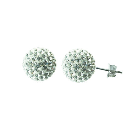 Sterling Silver Diamond Simulant Crystal Earrings - Large