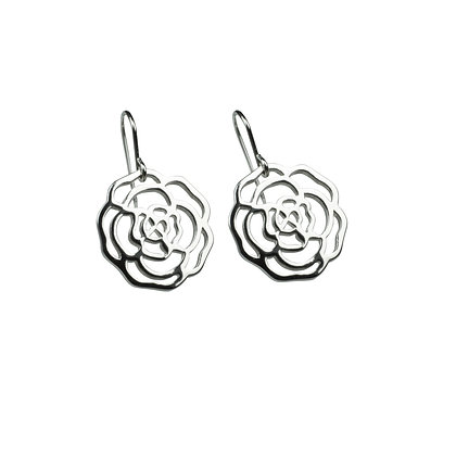 Sterling Silver Rose Earrings - Small