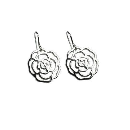 Sterling Silver Rose Earrings - Small