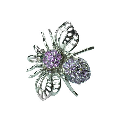 Sterling Silver Bee Pendant & Brooch with Amethyst