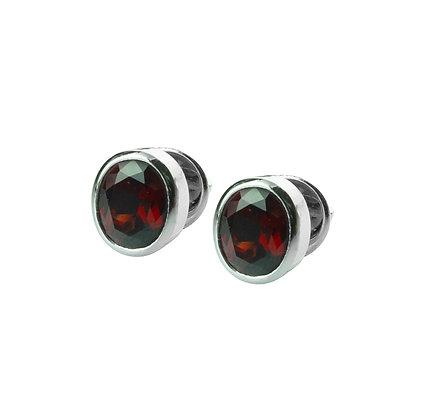 Sterling Silver Bezel Set Garnet Earrings