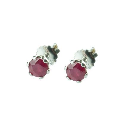 Sterling Silver Round Ruby Earrings- 5 MM