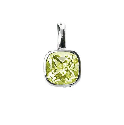 Sterling Silver Lemon Quartz Pendant/Enhancer in Checkerboard Cut