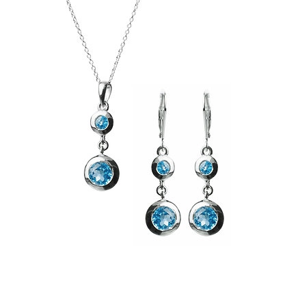 Sterling Silver Swiss Blue Topaz Earrings and Pendant