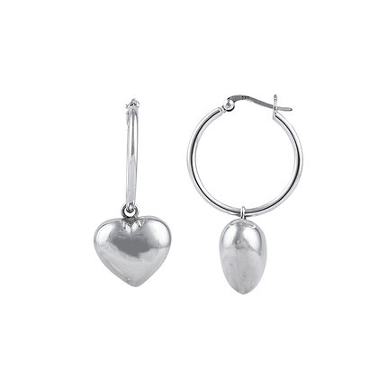 Sterling Silver Hoop Earrings with Puff Hearts