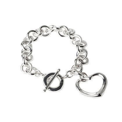 Sterling Silver Round Rolo Bracelet with Open Heart